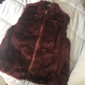 J. Crew burgundy faux fur vest
